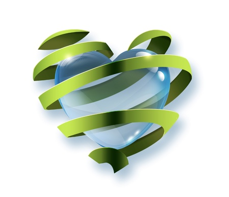 a water drop in the shape of a heart inside the the green ribbon - Symbol of environmental protection photo