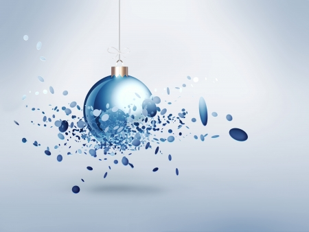 crushed: Christmas ball with burst effect Stock Photo