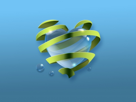waterdrop: a water drop in the shape of a heart inside the the green ribbon - Symbol of environmental protection