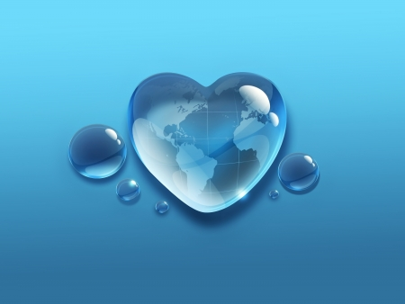 water drop in the shape of heart with the world map inside photo