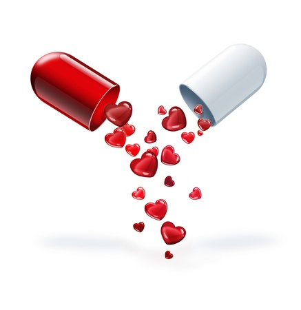 therapy group: pill with red hearts on a light background