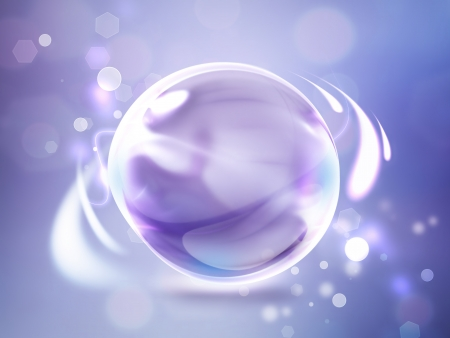 Violet abstract background with glossy sphere