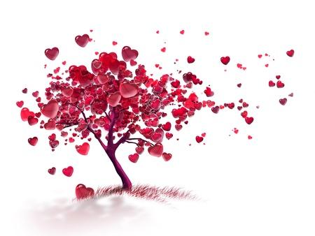 liefde boom met vliegende harten