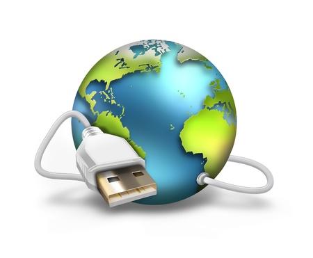 közlés: USB-kábel a világgal Stock fotó