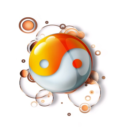 taoism: abstract pattern with a yin yang symbol Stock Photo