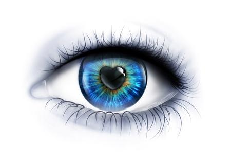 Eye close-up mit einem herzförmigen Pupille Standard-Bild - 21075575