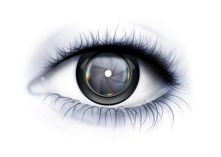 Eye près avec lentille de la caméra comme iris Banque d'images - 21075582