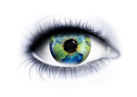 planeta está en el ojo en un fondo blanco Foto de archivo