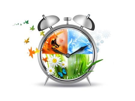 四季の時間概念イメージと目覚まし時計