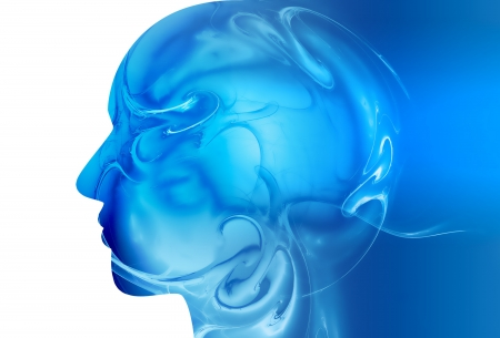 head silhouette with abstract design - abstract medical background Stock Photo