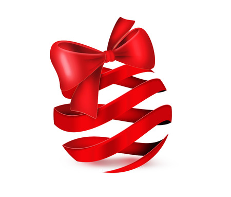 Red ribbon in the shape of a Christmas ball Stock Photo - 22497477