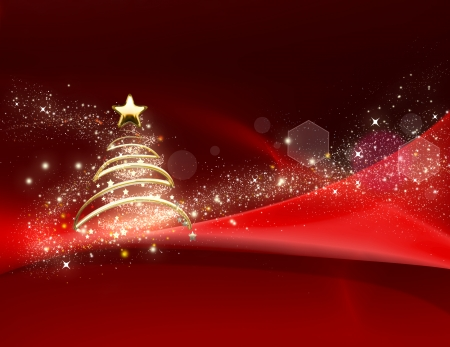 shining Christmas tree on red background Stock Photo - 22497479