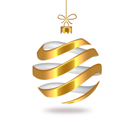 gold striped Christmas ball Stock Photo - 22497480