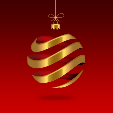 gold striped Christmas ball Stock Photo - 22497481