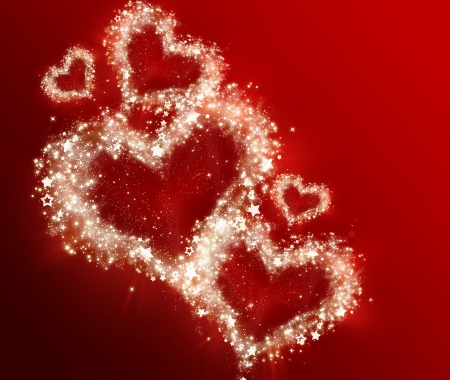 bright shining hearts on a red background Stock Photo - 22497482
