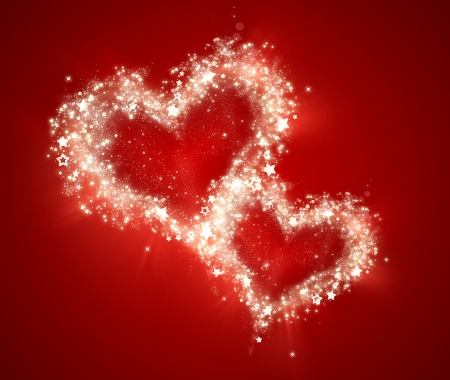 bright shining hearts on a red background Stock Photo - 22497483