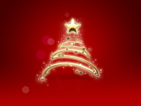 shining Christmas tree on red background Stock Photo - 22497493