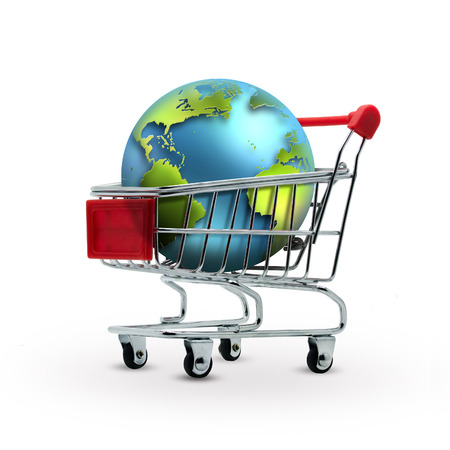 world in shopping cart - sales concept Stock Photo - 22497495