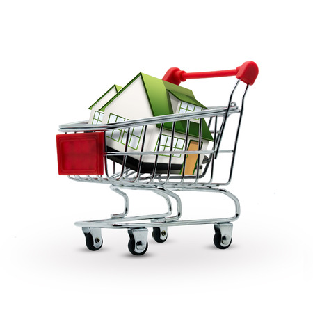 House in shopping cart on a white background Stock Photo - 22497501