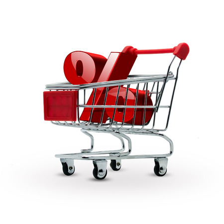 percentage discount in shopping cart - sales concept Stock Photo - 22497506