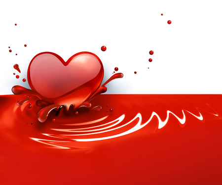 red heart with splashes of paint Stock Photo - 22497537