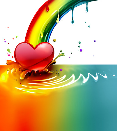 to paint: rainbow paint splash with a heart