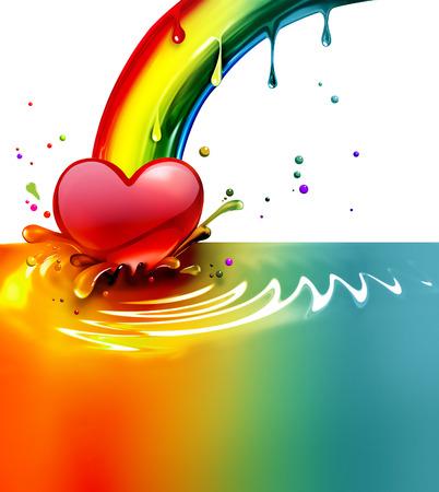 abstract rainbow: rainbow paint splash with a heart