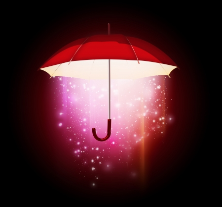 magical glow coming from the umbrella on a dark background Stock Photo - 22497614