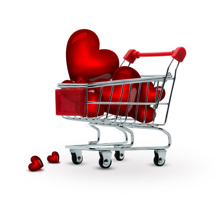 shopping cart full of red hearts photo