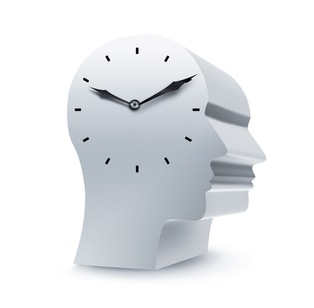 silhouette of a head with clock on a white background Stock Photo - 22497637