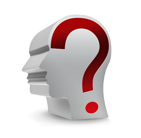head with question mark on a white background photo