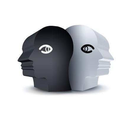 black and white head - abstract yin yang symbol Stock Photo - 22497648