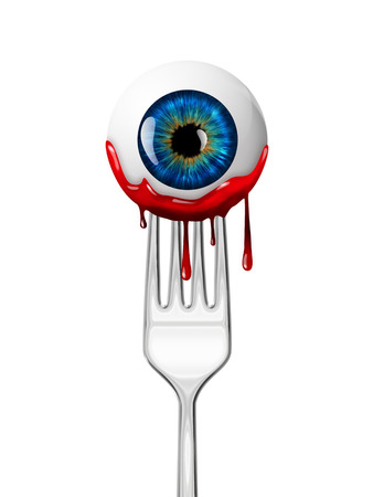 globo ocular: globo ocular en el tenedor - diseño de Halloween Foto de archivo
