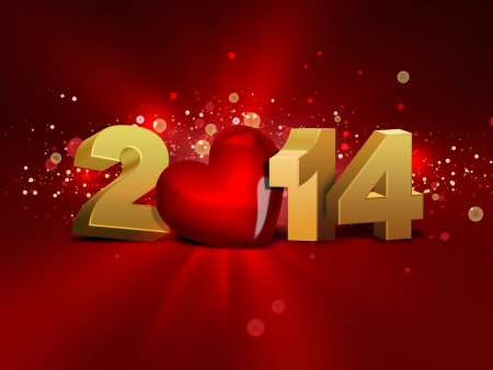 end of the days: 2014 with red heart - greeting card