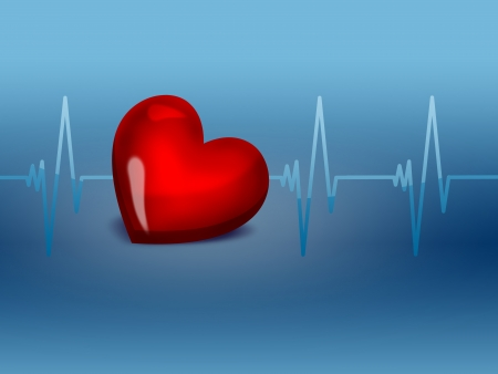 lifestyle disease: red heart on an electrocardiogram graph - a symbol of health