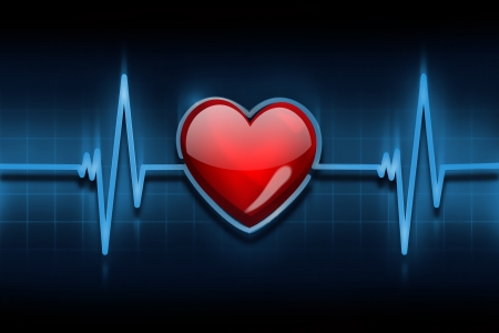pulsating: line of the pulse with the symbol of the heart