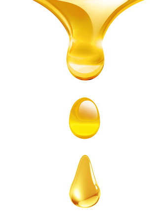 gota: aceite que gotea de cerca sobre fondo blanco
