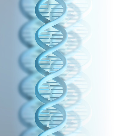 blue DNA strand on a light background photo
