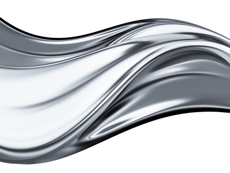 abstract chrome wave on white background