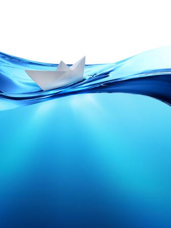水の波での紙の船