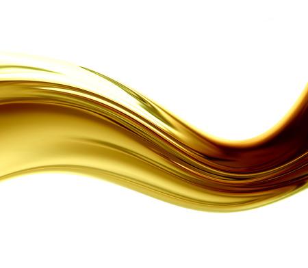 白い背景の上の抽象の黄金の波