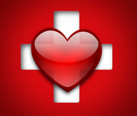 Medical design with heart and cross photo