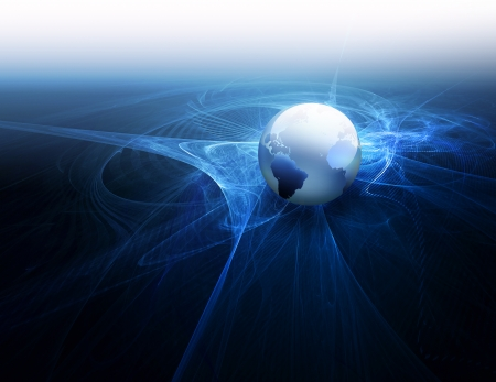 global work company: Futuristic technology abstract background with world