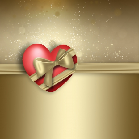 golden heart: romantic design with heart on golden background Stock Photo
