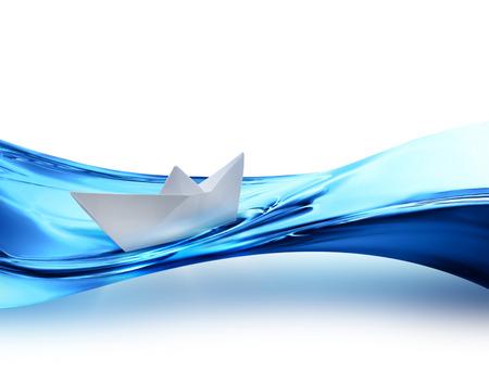 水の波に紙の船