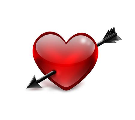 pierced: Heart pierced by arrow on a white background