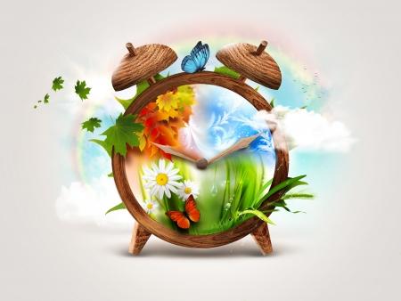 cuatro elementos: Four Seasons - Diseño Concepto del tiempo Foto de archivo