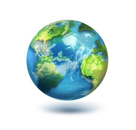 白い背景の上の世界。NASA から提供されたこのイメージの要素です。 写真素材