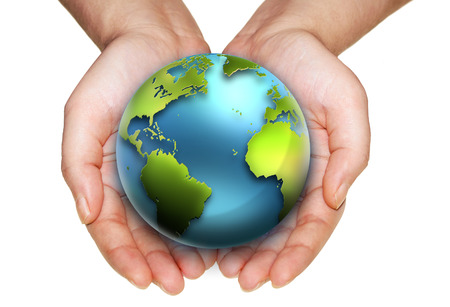 earth in hands on a white background. Elements of this image furnished by NASA. photo