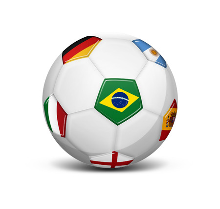 deutsch: soccer ball with flags of Brazil, Argentina, England, Germany, Spain and Italy